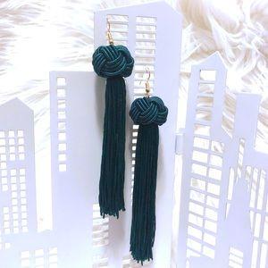 Jewelry - Hunter Green Fringe Bon Bon Earrings 💚